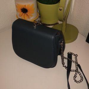 Gray Leather Crossbody Bag